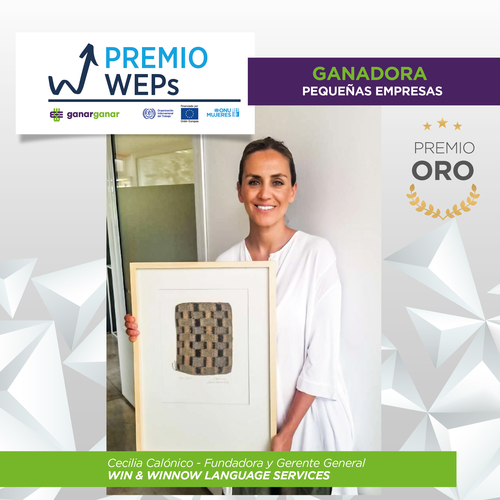 Win & Winnow General Manager Cecilia Calonico holding the Gold WEPs Award in the Small Business category in its first Argentina edition by UN Women